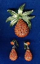 Vintage Sarah Coventry Red Rhinestones Enameled Brooch And Earrings Set - $19.99