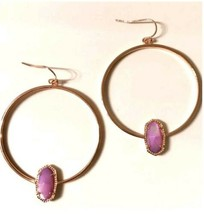 NEW! Kendra Scott Elora Hoop Earrings Lilac Mother of Pearl In Rose Gold... - $58.99