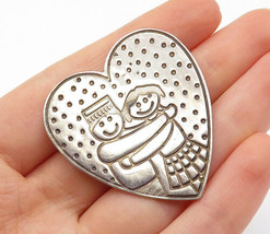 EFS MEXICO 925 Silver - Vintage Etched Hugging Couple Heart Brooch Pin -... - $46.66
