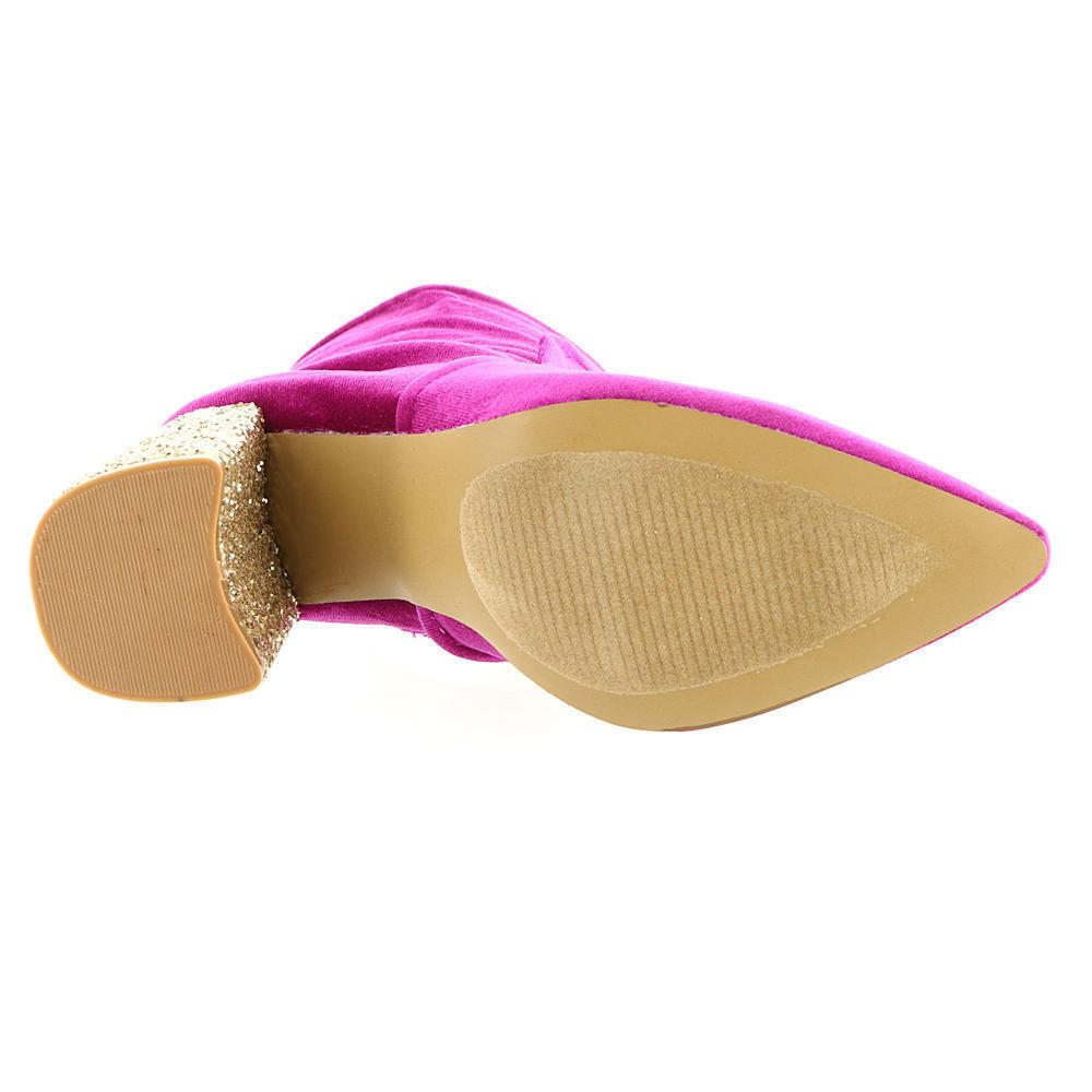 22ad1f9c46c1 Betsey Johnson Kacey Pink Velvet Glitter Heel Ankle Boots Sz 8 NEW