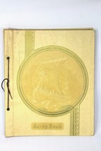 Vintage 1920s VIKING SHIP Scrapbook Photo Album Beige Leather Embossed 1... - $38.52