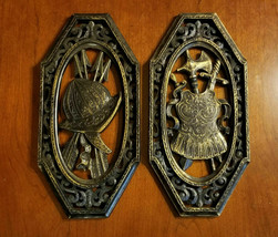 2 Vintage 1978 Syroco Viking Helmet & Suit Black & Gold Wall Art Plaques - $20.00