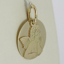 Pendant Medal round Yellow Gold 750 18K, Angel Guardian Double Layer, Satin image 2