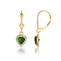 14K Yellow Gold White Sapphire & Emerald Halo Heart Dangle Leverback Ear... - $121.75