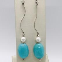 Pendientes de Plata 925 Rodiado con Perlas Blancas y Jade Azul Ovalados image 1