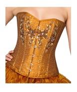 Golden Cotton Silk Sequins Halloween Costume Waist Training Overbust Cor... - $79.19+