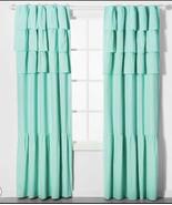 "2 - Pillowfort Ruffle Blackout Curtain CRYSTALIZED GREEN Curtain 84"" Pair - £32.71 GBP"