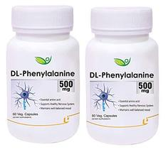 Krishna Biotrex DL-Phenylalanine 500mg - 60 Veg Capsules, Pack of 2 - $69.14