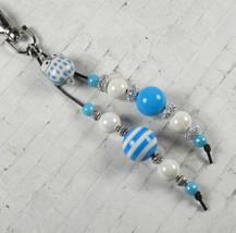 Owl Stripe Bubblegum Handmade Beaded Keychain Purse Charm Blue White Silver - $13.96
