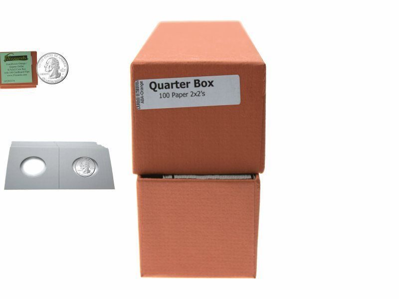 """Guardhouse Orange Quarter Coin Storage Box with 100 Coin Flips, 2"""" x 2"""" x 8.5"""""""