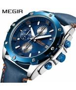 Reloj MEGIR cronógrafo hombres Relogio reloj azul de negocios de cuero r... - $39.08