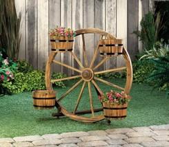 "4 Metal Banded Planter Barrels Display on Wagon Wheel 31"" High - $116.77"