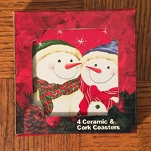 Pack of 4 Holiday Snowman Square Ceramic & Cork Coasters Greenbrier (923... - $11.64