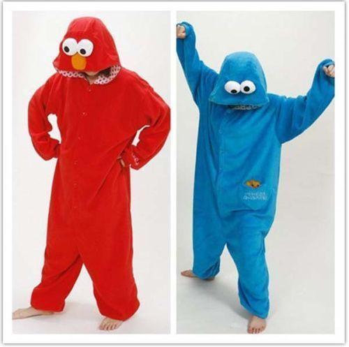 Sesame Street Elmo Cookie Monster Costume Adult Pajamas Pyjamas Onesi Sleepwear for sale  USA
