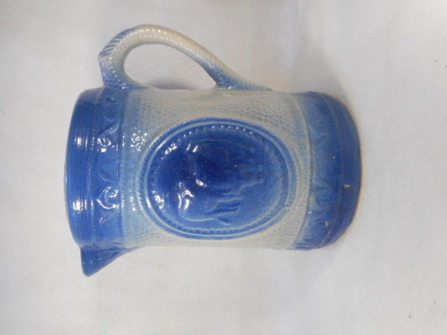 "Antique Blue and White Salt Glaze Stoneware Handled Pitcher 8 1/4"" Tall"