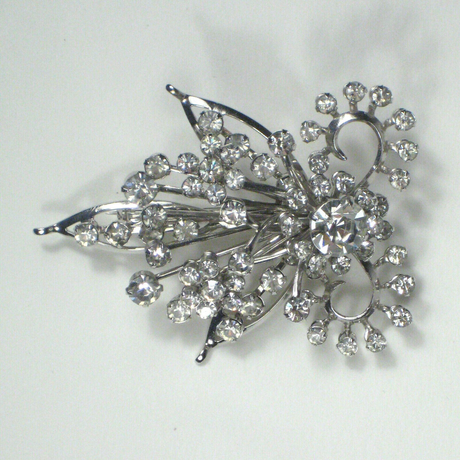 Primary image for Brooch Silvertone 2.25 In Women's Estate Pin Vintage Rhinestones Cocktail