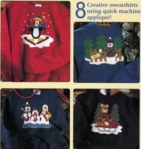 8 Holiday Christmas Quilted Sew Machine Applique Sweatshirt Snowman Bear... - $13.99