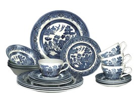 Churchill Blue Willow Plates Bowls Cups 20 Piece Dinnerware Set, Made In... - $172.18
