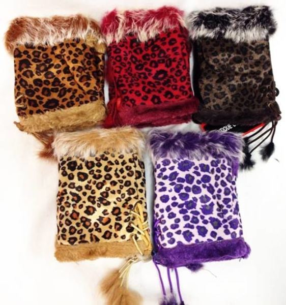 Case of [48] Fingerless Faux Fur Suede Leopard Texting Gloves