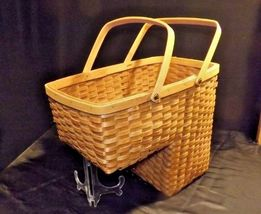 Double Handled Swing Basket Handmade AA18-1294 Vintage image 3