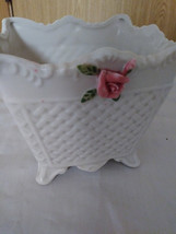 Vintage Bloom Rite White Planter Porcelain Pink Roses image 1