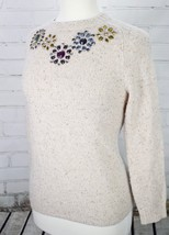 J. Crew Jeweled Donegal Sweater Pullover Top Women's Size XS Tan Heather Jewels - $37.62