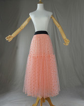 Peach Polka Dot Tulle Skirt Peach Tiered Party Tulle Skirt Holiday Outfit Plus  image 7
