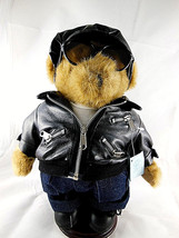 """Handmade Teddy Bear w Jacket glasses cap hat shoes stand 11.5""""  - $21.77"""