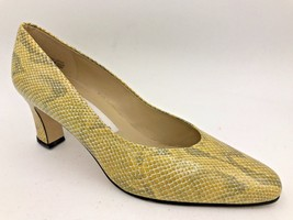 Etienne Aigner Yellow Snakeskin Leather Taylor Heels Pumps size 9M Spain O5 - $34.95