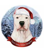 Holiday Pet Gifts Dogo Agentino Cropped Dog Santa Hat Porcelain Ornament - $14.95