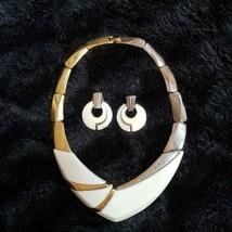 Trifari Abstract Gold & Silver White Enamel Choker Necklace & Pierced Earrings - $46.73