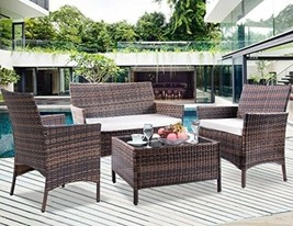 Patio Set Bench And Chairs Outdoor Patio Furniture Set Conversation Wick... - $285.06
