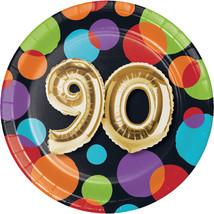 "Balloon Birthday 7"" Dia. 90th Birthday Luncheon Plate, Case of 96 - ₨2,386.82 INR"