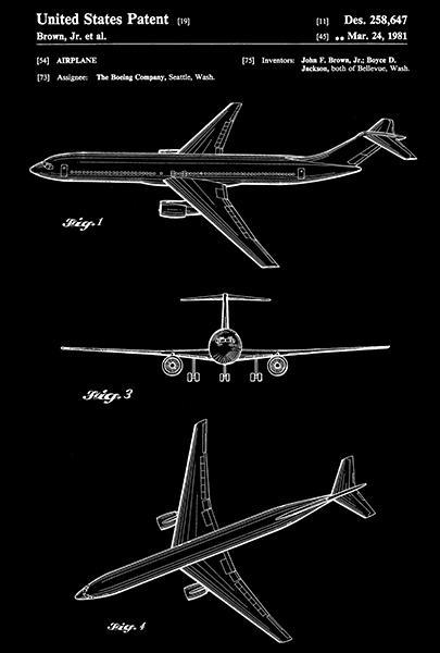 Primary image for 1981 - Boeing Airplane Design - J. F. Brown, Jr. - Patent Art Poster