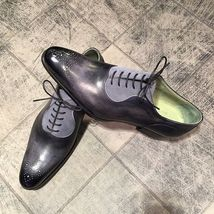 Handmade Men's Black Leather And Grey Suede Lace Up Brogue Style Shoes image 3