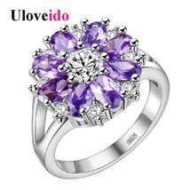 Uloveido Off Wedding Rings Women Purple Flower Ring Female Costume Jewel... - $7.99