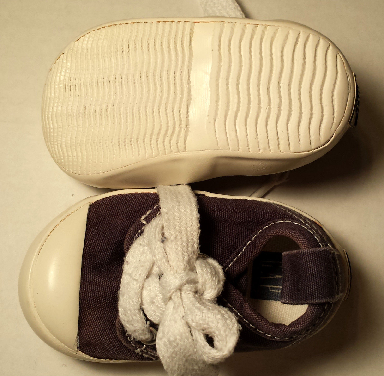 Boy's Or Girl's Size 0-3 M Months Navy Blue/ White Baby Gap Crib Shoes W/ Laces