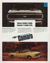 Camaro SS Sport Coupe Vintage 1967 Classic Automobile Ad Chevrolet - $12.99