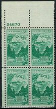 1952 Mount Rushmore Plate Block of 4 US Postage Stamps Catalog Number 1011 MNH