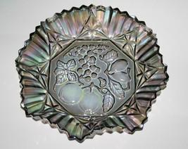 Federal Glass Grey Smoke Carnival Fruit Crimped Bowl   #2415 - $24.00