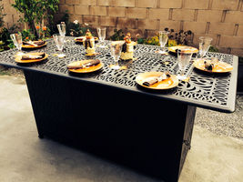 Outdoor Propane Fire Pit bar height double burner table Elisabeth aluminum patio image 7