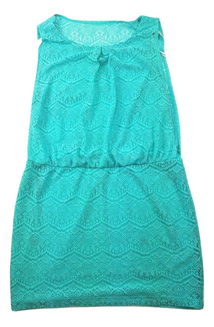Primary image for Bisou Bisou Women's Size 16 Lined Turquoise Blue Lace Sleeveless Dress
