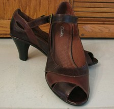 Clarks Brown Leather Pumps Woman's SHOES 7.5 M Open Toe w Strap Office Casual - $16.82
