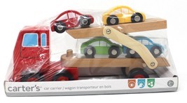 Carter's Wooden car hauler Carrier truck and trailer with 4 cars - $24.86