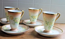 4  Artist Signed Hand Painted Porcelain Teacup/ Chocolate Cup Saucer Set... - $47.52