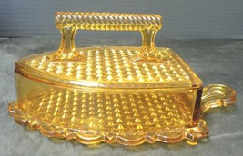 """Rare Early American Pressed Glass Amber """"Sad or Flat Iron"""" Covered Butte... - $71.24"""