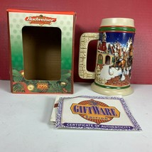 """NEW 1998 Budweiser Clydesdales Holiday Beer Stein """"GRANT'S FARM HOLIDAY""""... - $15.98"""