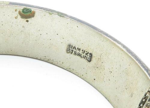 SIAM 925 Silver - Vintage Antique Enamel Niello Dancer Bangle Bracelet - B5799