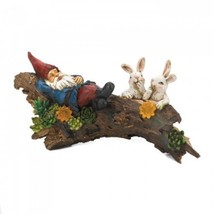 Sleeping Gnome With Bunnies Solar Statue - $30.99