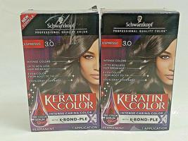 Two (2) Keratin Color Intense Caring Hair Color Kit 3.0 Espresso With K.BondPlex - $25.10